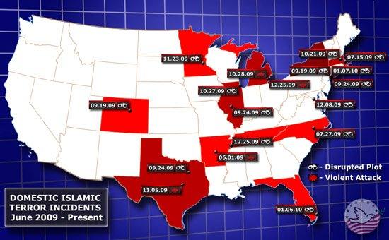 Domestic Islamic Terror Incidents June 2009 - present